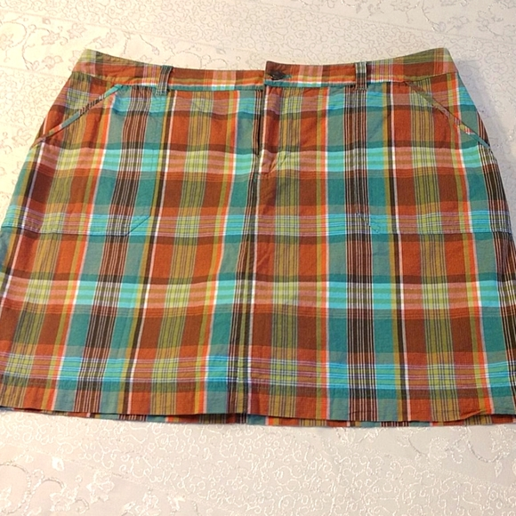Christopher & Banks  cotton blend plaid skort sz14